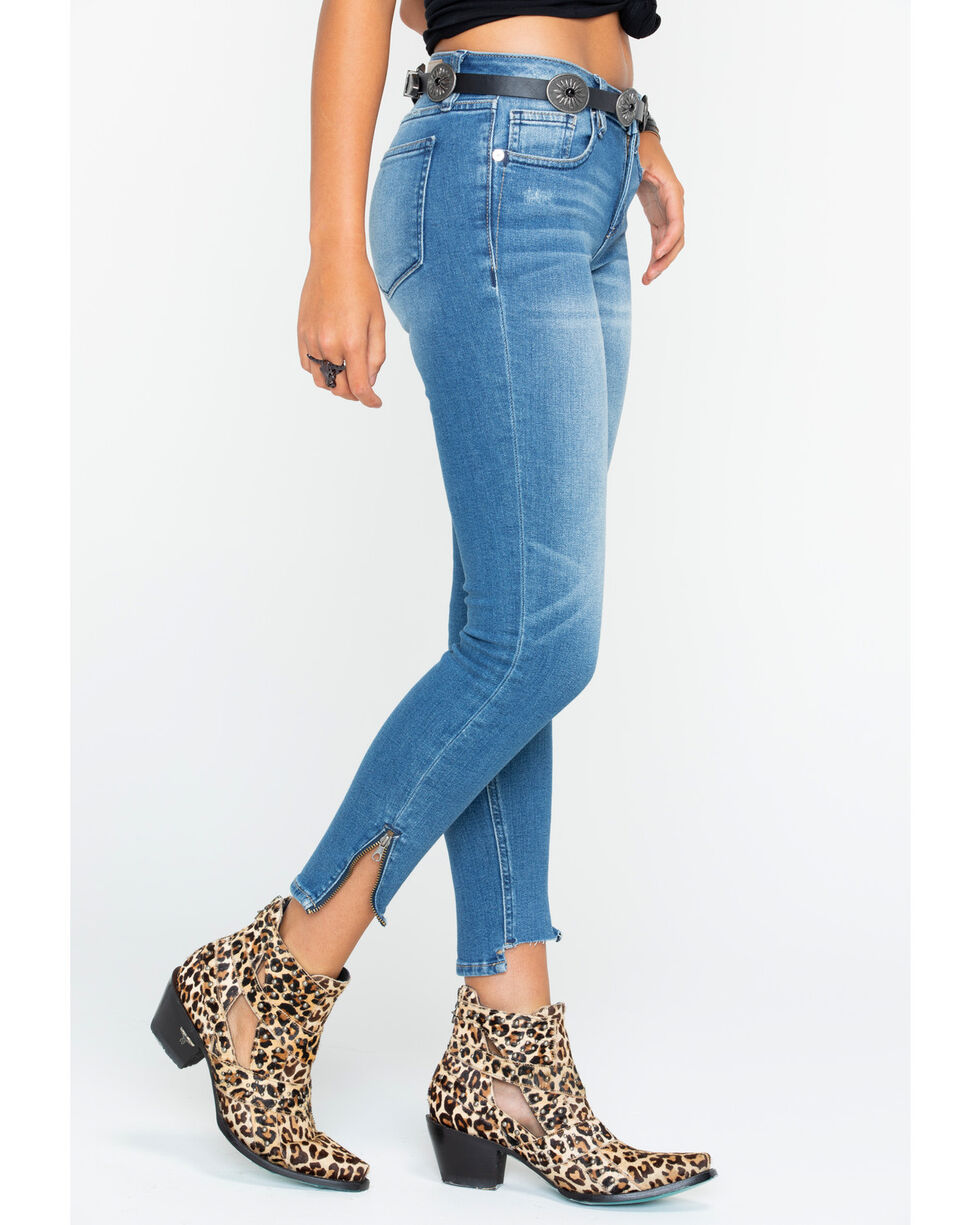 Miss Me Women's Step Up Hem Jeans - Ankle Skinny , Indigo, hi-res