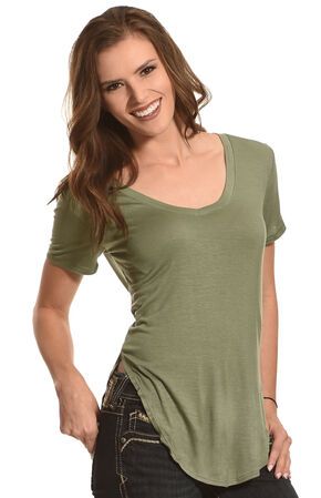 Derek Heart Women's Deep V-Neck Oversize Tee - Plus Size, Olive, hi-res