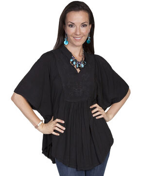 Scully Women's Poncho Blouse, Black, hi-res
