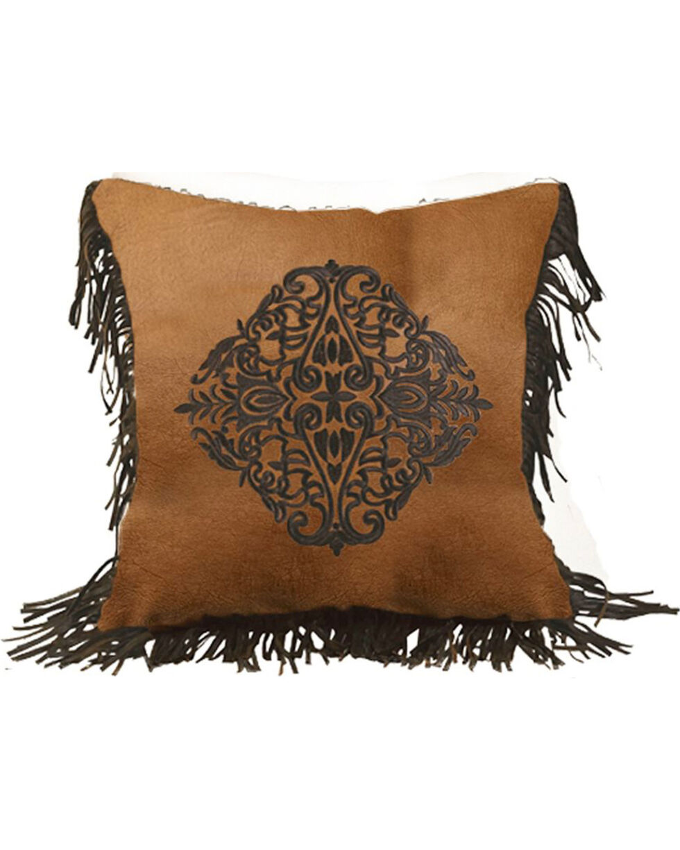 HiEnd Accents Austin Embroidered Faux Leather Pillow, Multi, hi-res