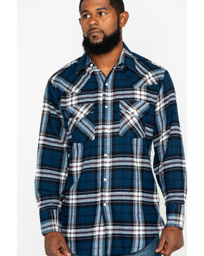 Ely Cattleman Men's 4.5 Oz.Plaid Long Sleeve Western Shirt, Blue, hi-res
