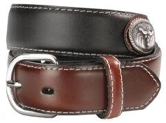 Nocona Boys' Steer Head Concho Leather Belt - 18-28, Black, hi-res