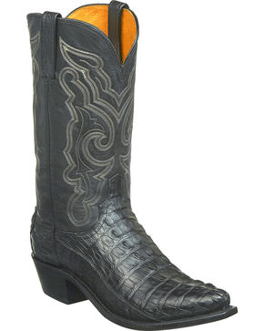Lucchese Men's Handmade Franklin Hornback Caiman Tail Western Boots - Snip Toe, Black, hi-res