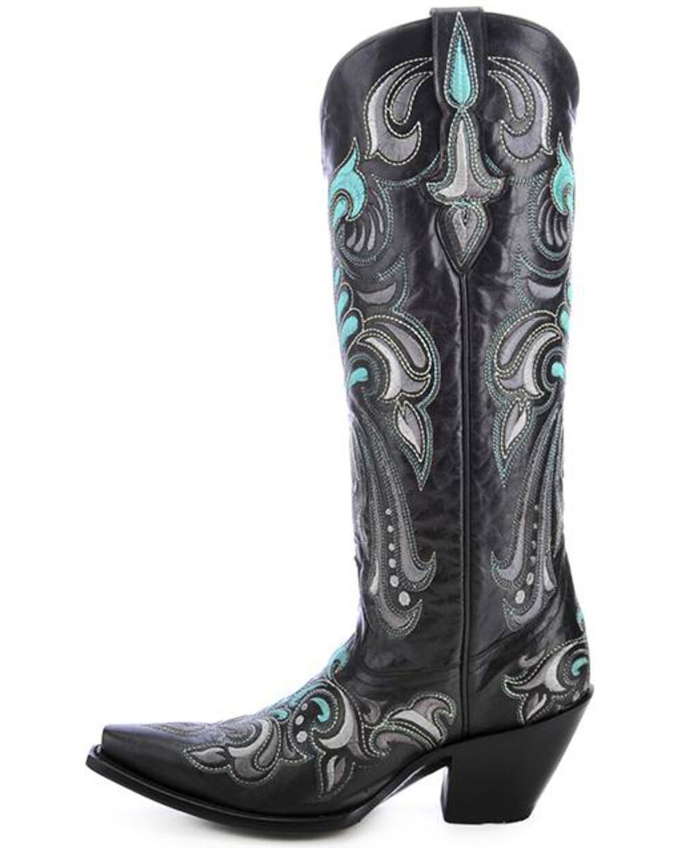 Corral Women's Embroidered Tall Cowgirl Boots - Snip Toe, Black, hi-res