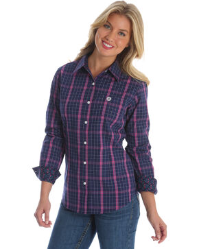 George Strait by Wrangler Women's Navy Plaid Long Sleeve Western Shirt , Multi, hi-res