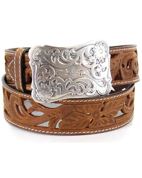 Shyanne Women's Floral Filigree Western Fashion Belt, Tan, hi-res