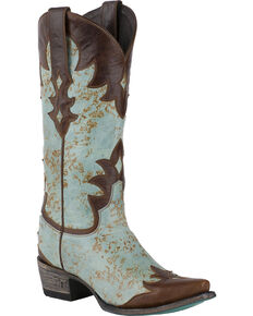Lane Women's Diamond Dust Overlay Cowgirl Boots - Snip Toe, Turquoise, hi-res