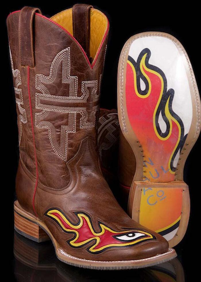 Tin Haul Men's Brown Stink Eye Cowboy Boots - Square Toe, Brown, hi-res