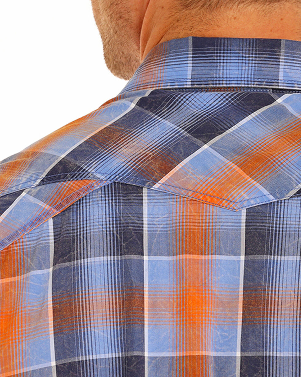 Rock & Roll Cowboy Men's Crinkle Washed Ombre Plaid Shirt , Blue, hi-res