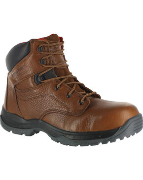 American Worker Men's Work Boots - Steel Toe, Brown, hi-res