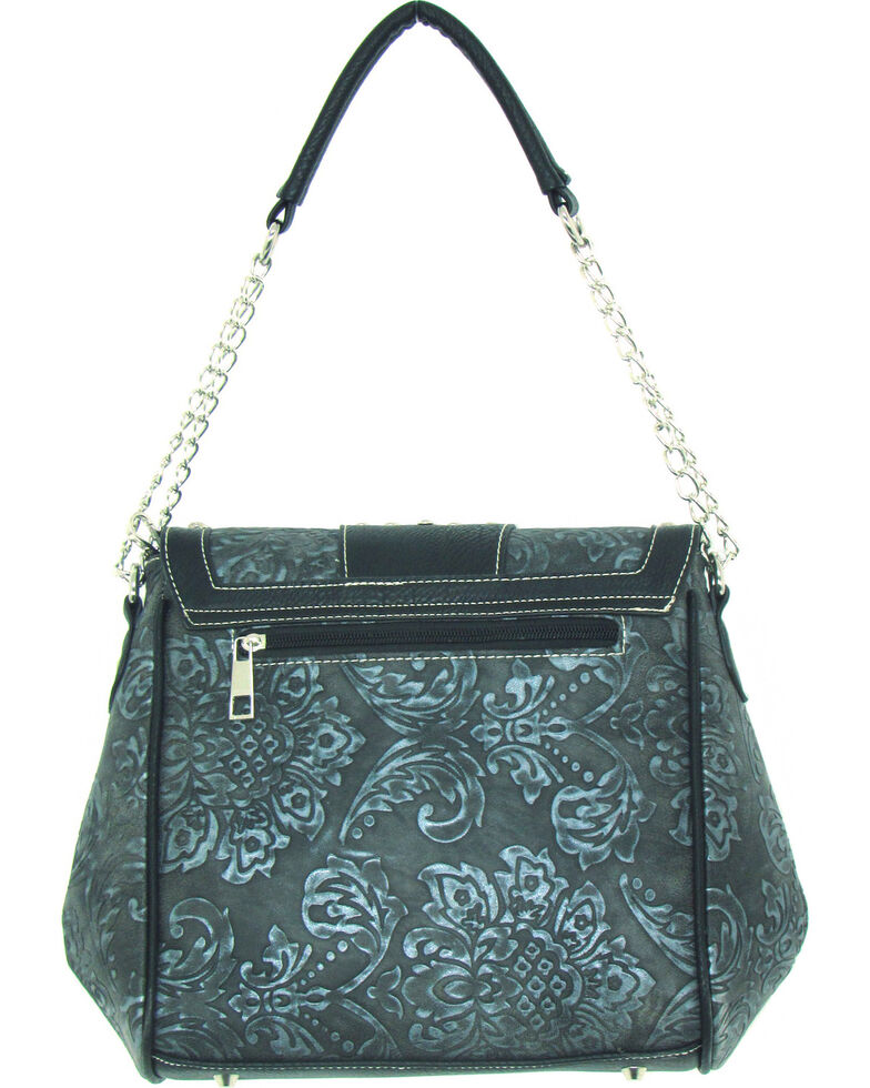 Savana Women's Faux Leather Tooled Handbag, Silver, hi-res