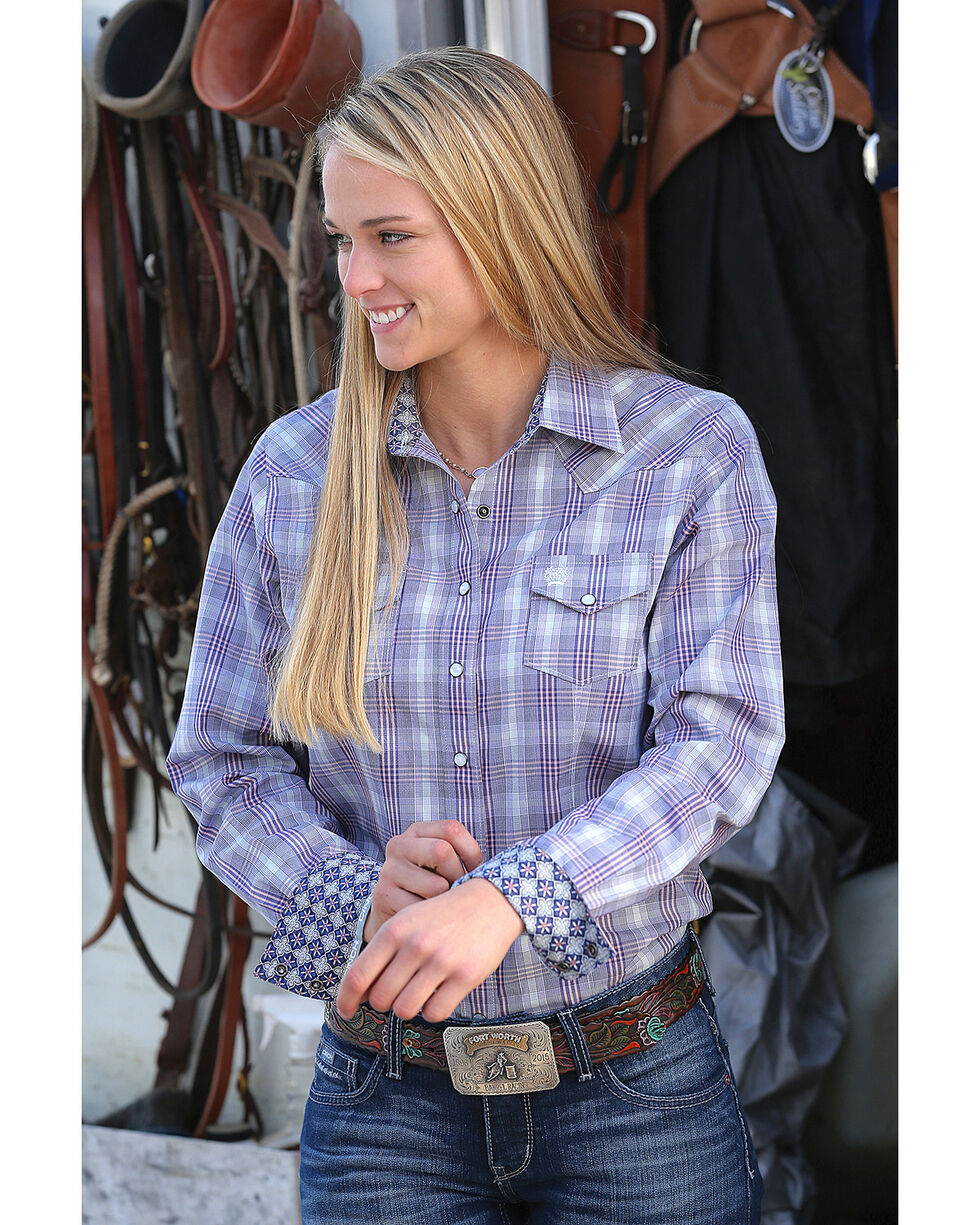 Cinch Women's Plaid Western Snap Shirt , Multi, hi-res