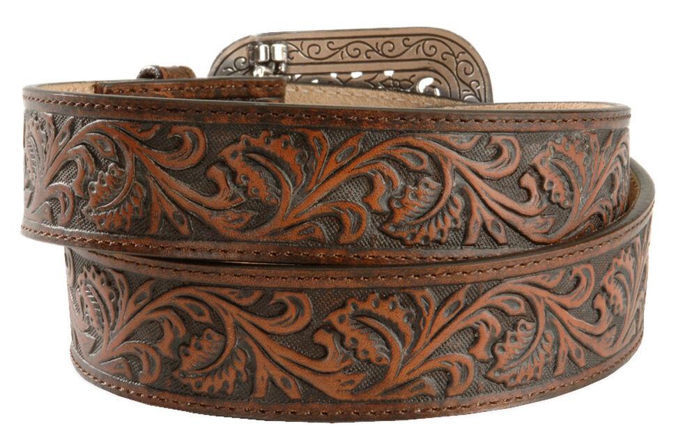 Ariat Floral Leather Belt, Brown, hi-res