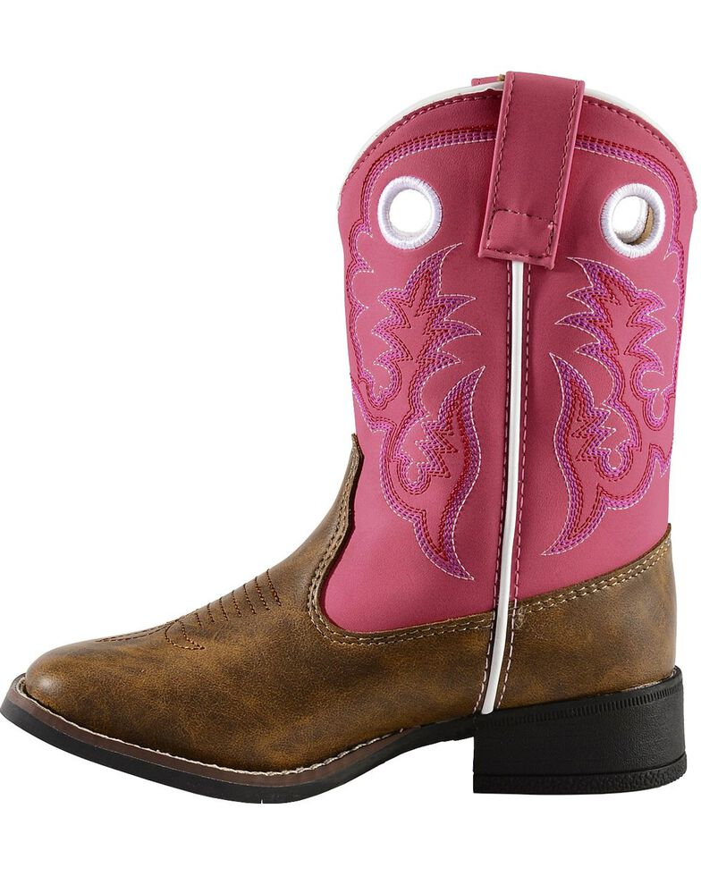 Laredo Children's Pink Stitched Cowgirl Boots, Tan, hi-res