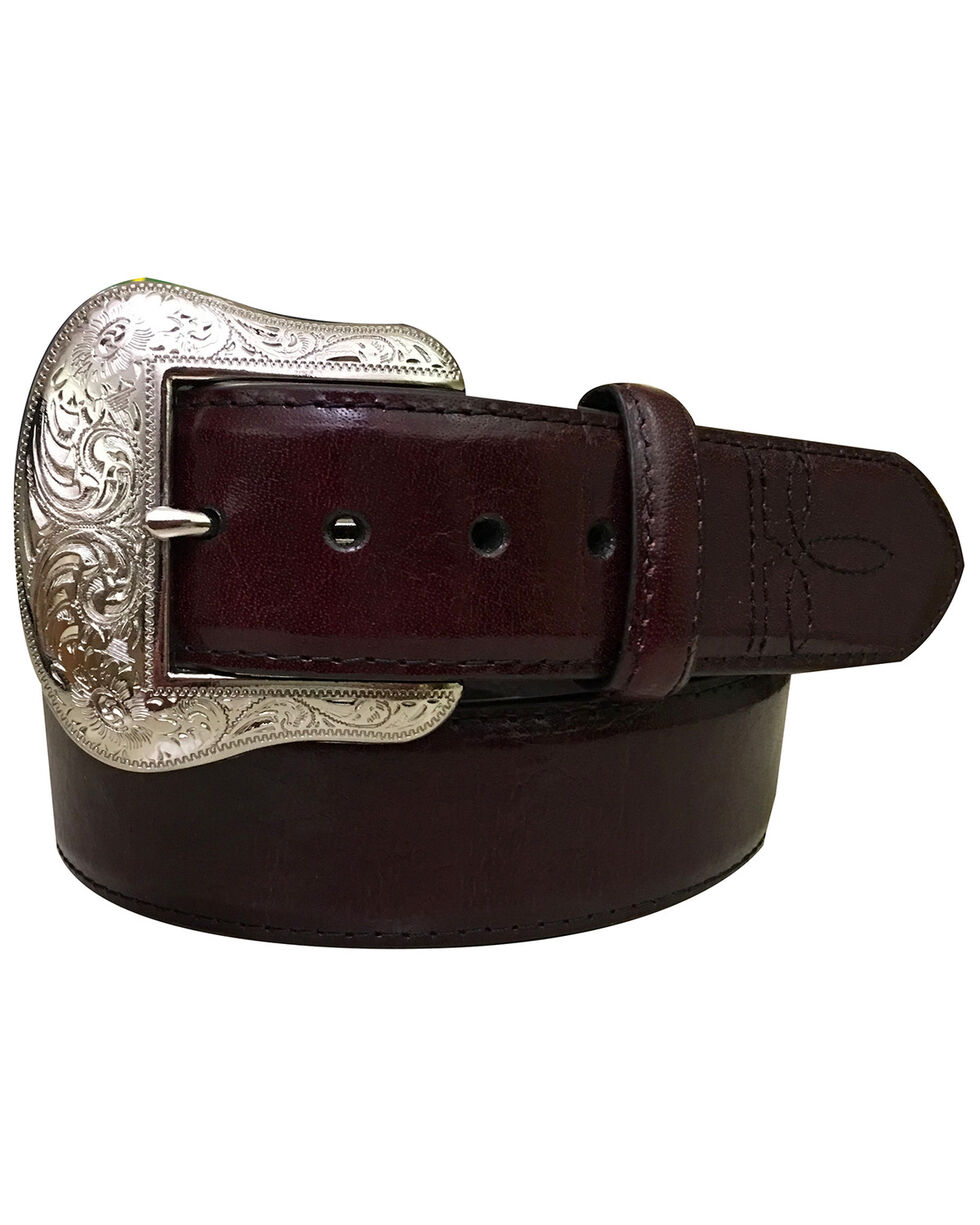 Roper Men's Black Cherry Padded Strap Genuine Leather Belt , Black Cherry, hi-res