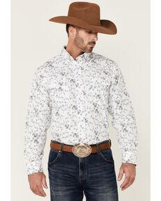 Panhandle Select Men's White & Teal Floral Print Long Sleeve Snap Western Shirt , Teal, hi-res