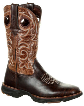 Durango Women's Ultra-Lite Western Boots - Square Toe, Cream/hunter, hi-res