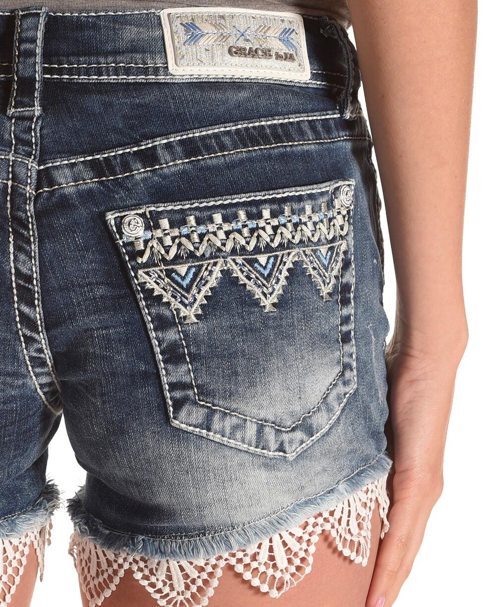 Grace in LA Women's Indigo Embroidered Lace Trim Shorts , Indigo, hi-res