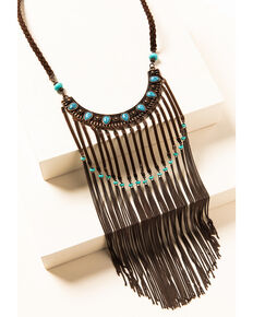 Shyanne Women's Willow Moon Bib Fringe Necklace, Rust Copper, hi-res