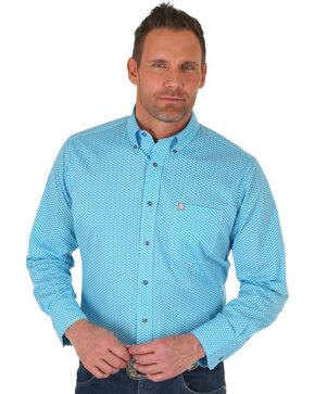 Wrangler Men's Turquoise Performance Print Shirt , Turquoise, hi-res
