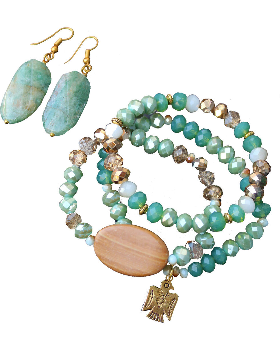 2 Queen B's Women's Emerald Crystal & Natural Stone Jewelry Set, Green, hi-res