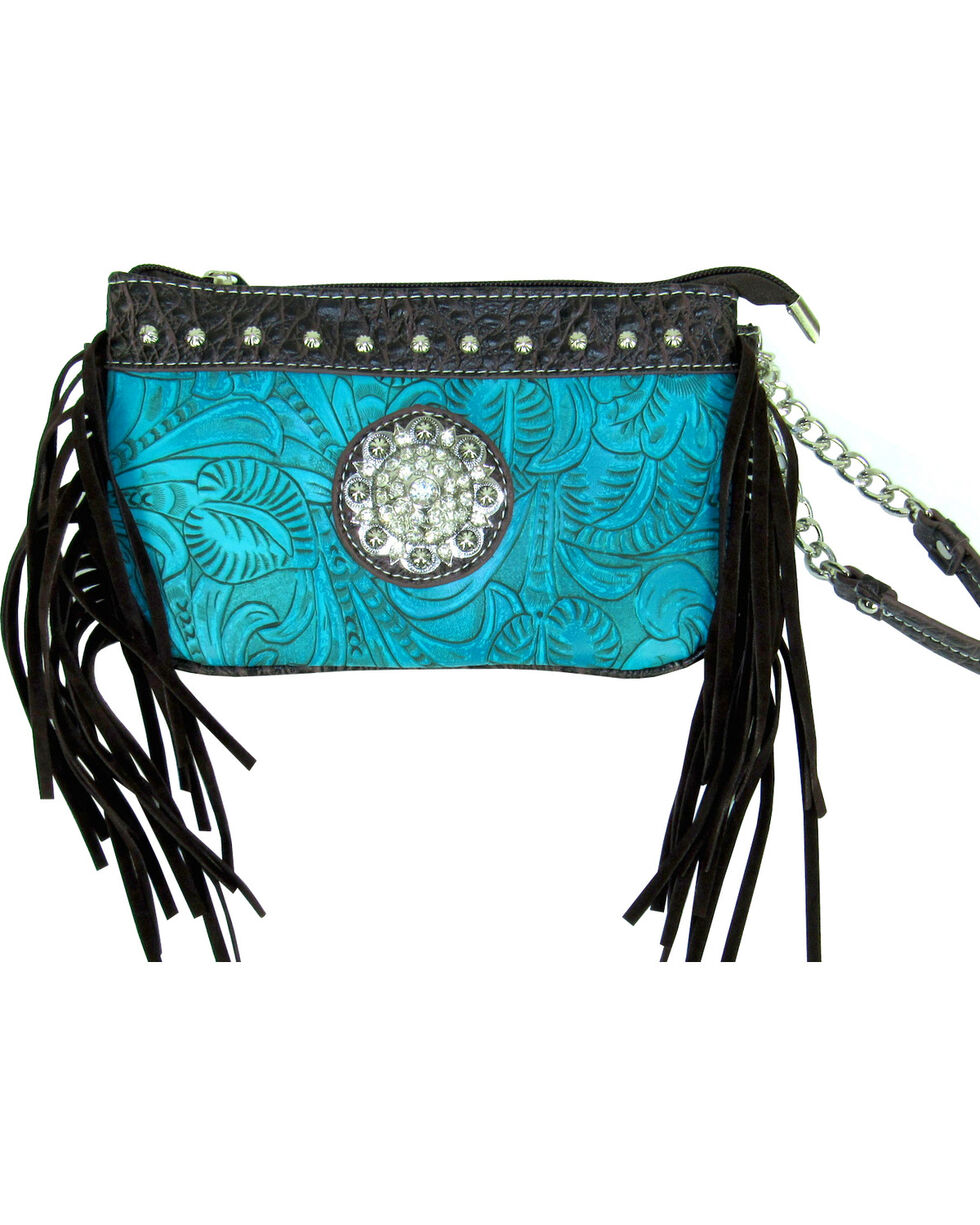 Savana Women's Turquoise Tooled Crossbody/Wristlet with Fringe, Turquoise, hi-res
