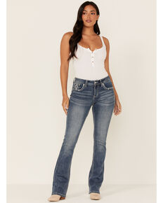 Grace in LA Women's Medium Wash Tribal Aztec Mid Rise Bootcut Jeans , Blue, hi-res