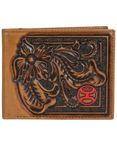 HOOey Men's Brown With Tooling Bi-Fold Wallet, Brown, hi-res
