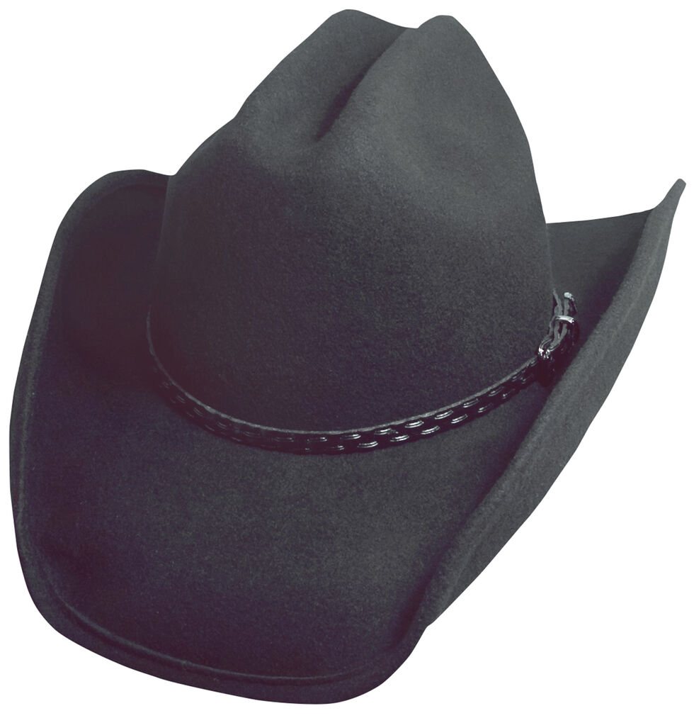 Scala Black Crushable Wool Cowboy Hat, Black, hi-res