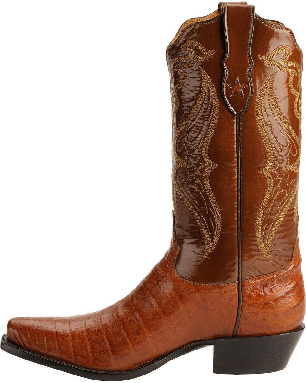 Tony Lama Signature Series Embroidered Caiman Belly Cowboy Boots - Snip Toe, Cognac, hi-res