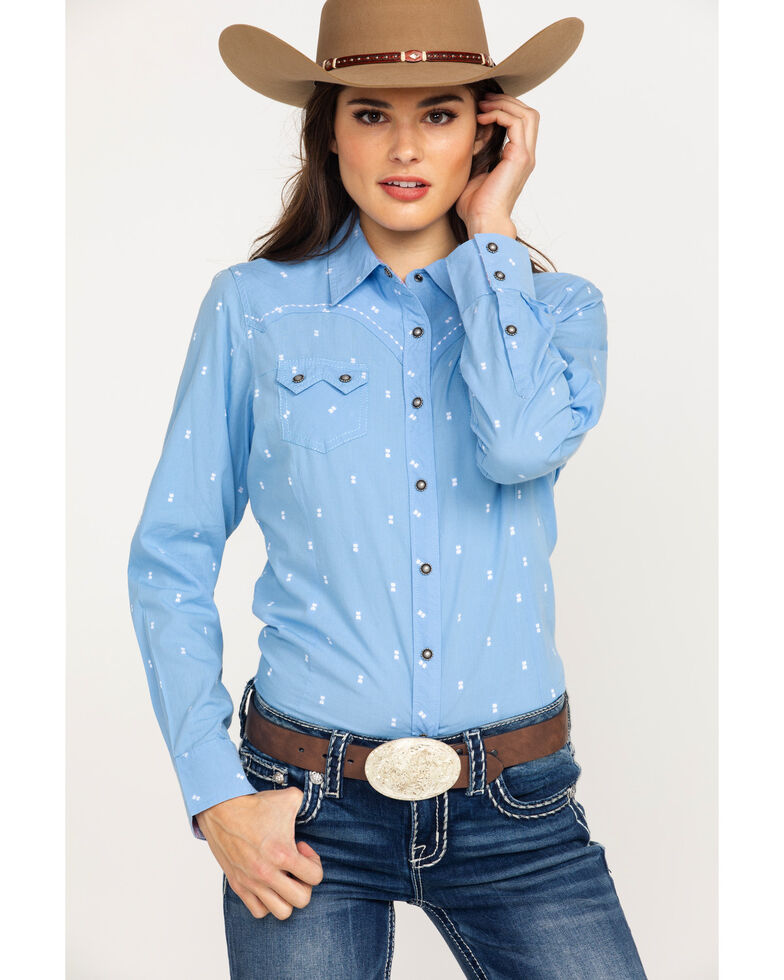 61af0776b1 Ariat Women s REAL Lucky Print Snap Long Sleeve Western Shirt - Plus ...