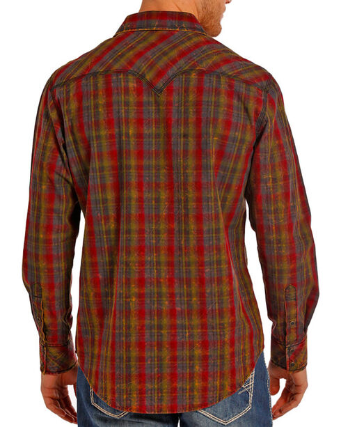 Rock & Roll Cowboy Men's Burgundy Crinkle Plaid Shirt , Burgundy, hi-res