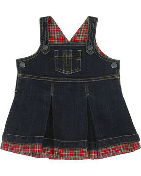 Wrangler Toddler Girls' Plaid and Denim Dress, Blue, hi-res