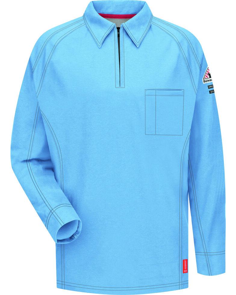 Bulwark Men's Blue iQ Series Flame Resistant Long Sleeve Polo - Big & Tall , Blue, hi-res