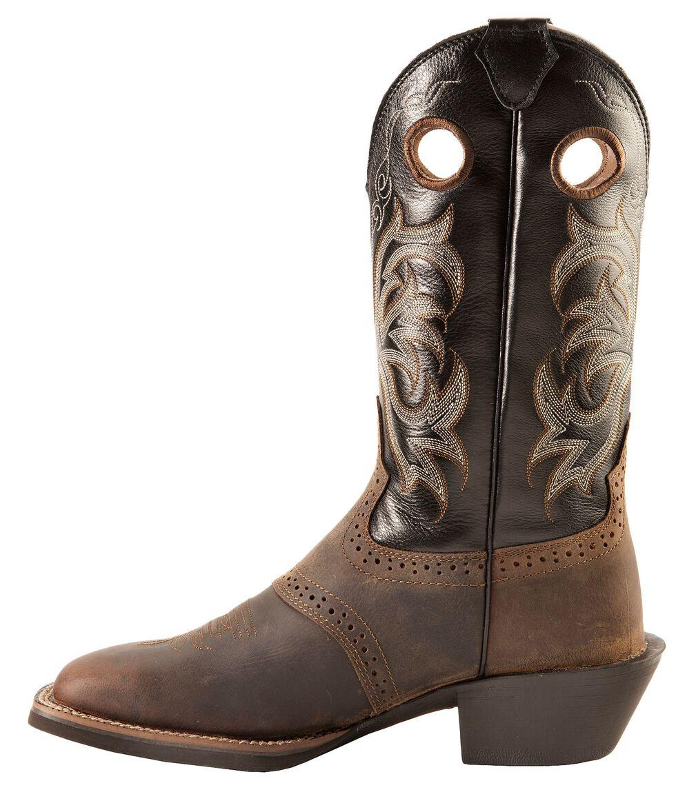 Justin Men's Punchy Stampede Black Cowboy Boots - Square Toe, Tan Distressed, hi-res