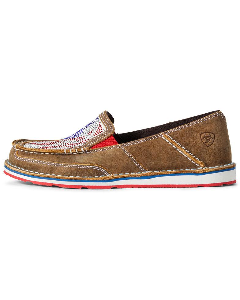 Ariat Women's Sequin Stars & Stripes Cruiser Shoes - Moc Toe, Brown/blue, hi-res