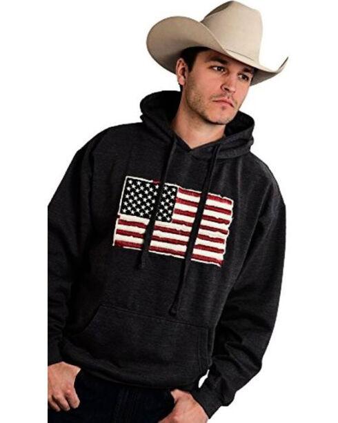 Roper Men's Twill Applique Flag Hoodie, Grey, hi-res