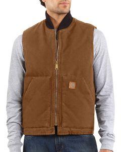 Carhartt Sandstone Work Vest, Brown, hi-res