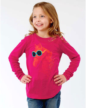 Roper Girls' Horse Print Long Sleeve Tee, Magenta, hi-res