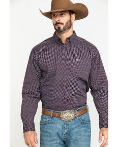 Ariat Men's Largo Small Geo Print Long Sleeve Western Shirt , Brown, hi-res