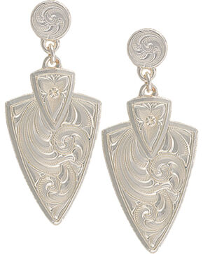 Montana Silversmiths Women's Keen Pursuit Arrowhead Earrings , Silver, hi-res