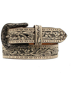 Ariat Women's Faux Leather Western Belt, White, hi-res