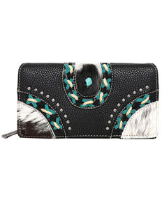Montana West Women's Studded Hair-On Leather Wallet, Black, hi-res