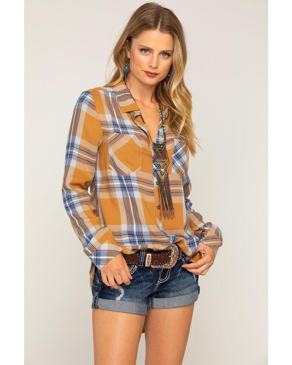 Shyanne Women's Rust Woven Plaid Long Sleeve Shirt, Rust Copper, hi-res