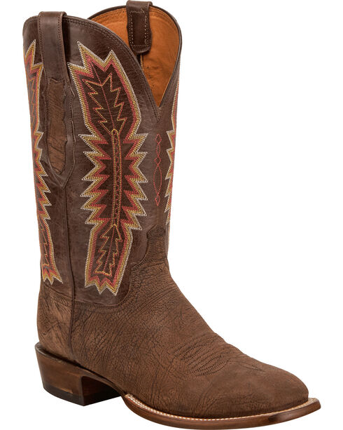 Lucchese Men's Handmade Hunter Chocolate Sueded Sheep Horseman Western Boots - Square Toe, Chocolate, hi-res