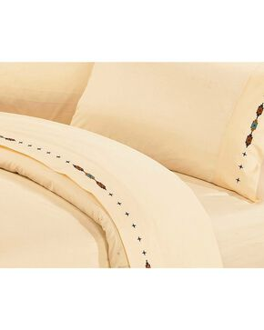 HiEnd Accents Navajo Embroidered Cream Sheet Set - Queen, Cream, hi-res