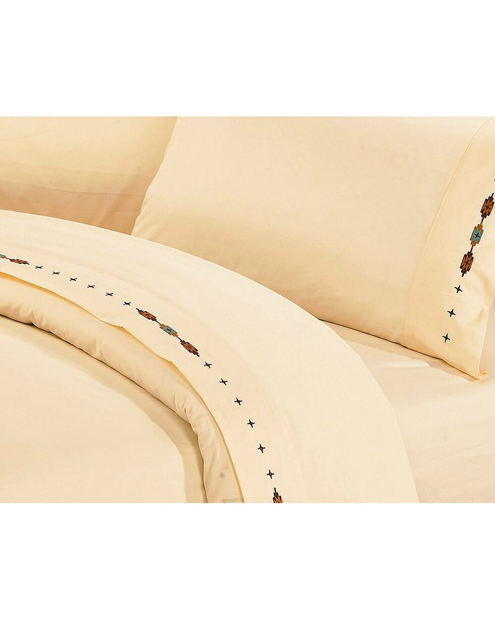 HiEnd Accents Cross Embroidered Cream Sheet Set - King, Cream, hi-res