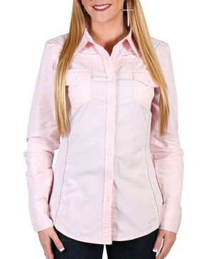Grace in LA Women's Pink Roxie Button-Up Blouse , Pink, hi-res