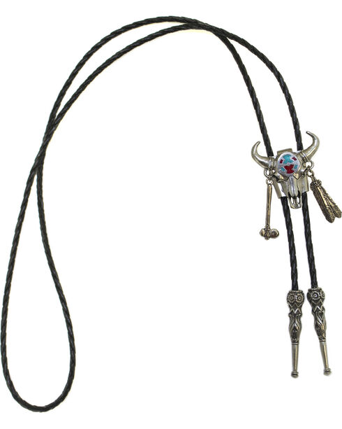 Western Express Medicine Bull Feather Charm Bolo Tie, Silver, hi-res