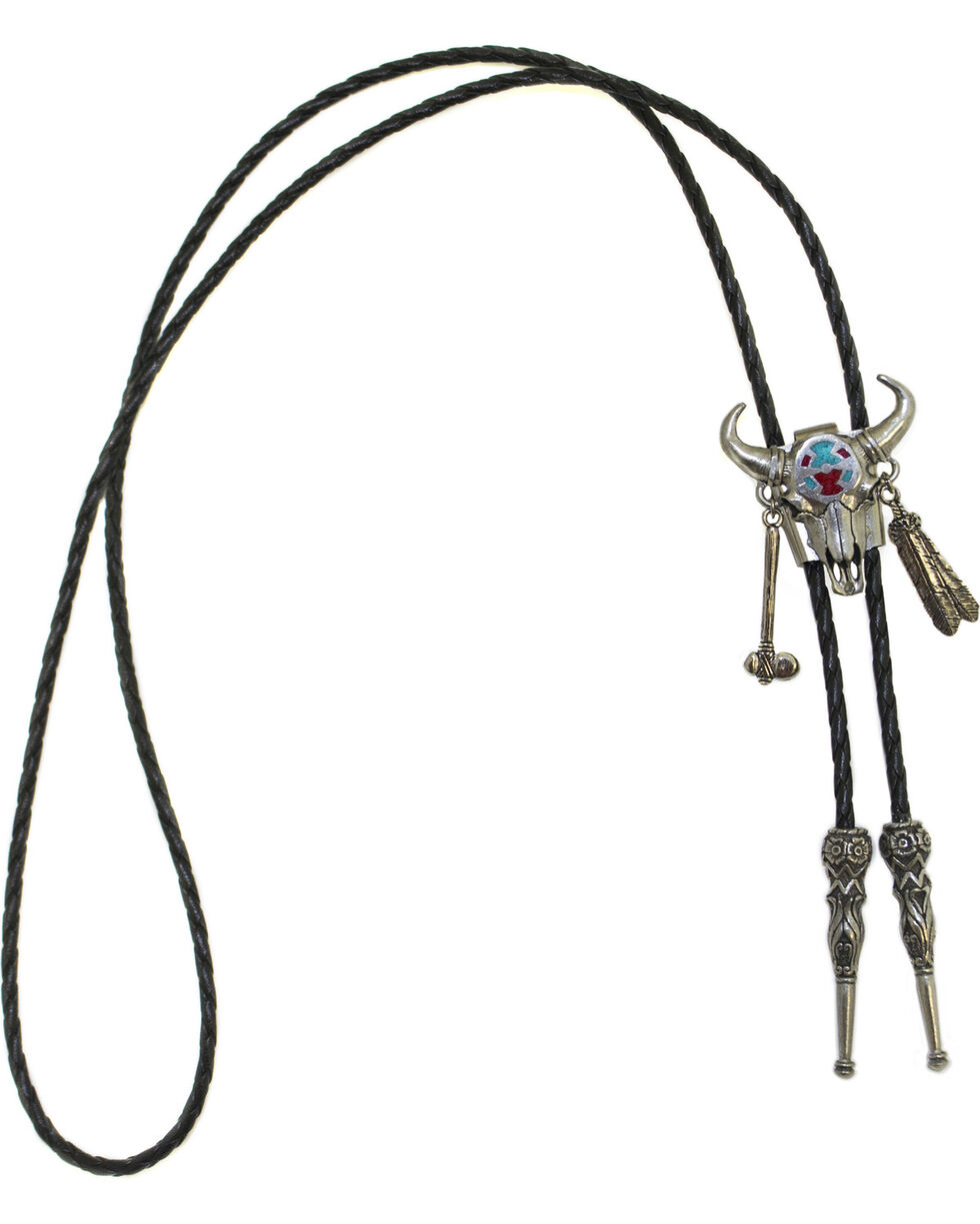 Western Express Men's Medicine Bull Feather Charm Bolo Tie, Silver, hi-res